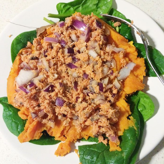 Sweet potato with salmon and red onion