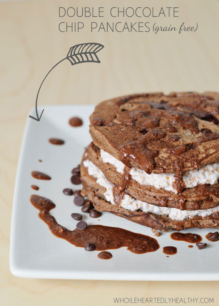 Double chocolate chip pancakes title