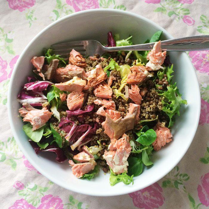 Salmon lentil quinoa salad
