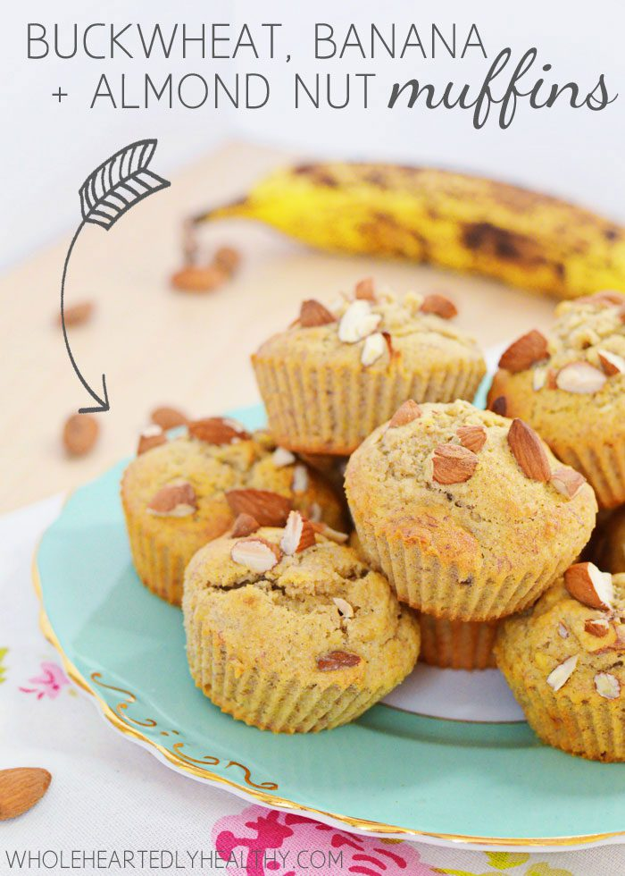 Buckwheat banana almond nut muffins