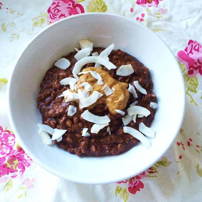 Chocolate almond coconut oats