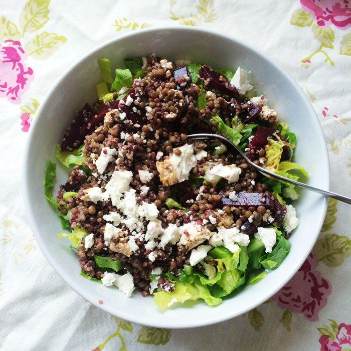 Lentil beetroot and feta salad