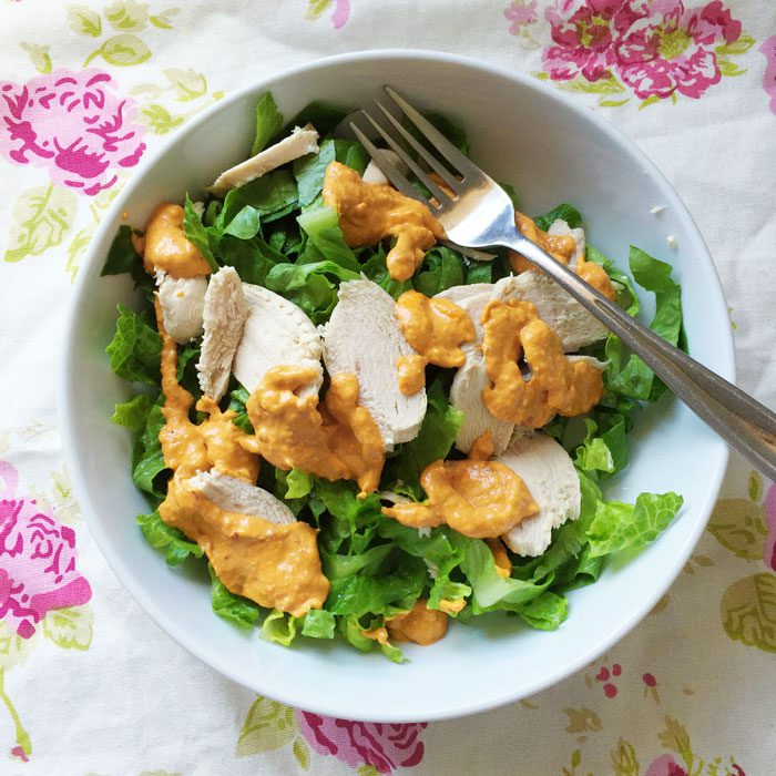 Chicken harissa hummus salad