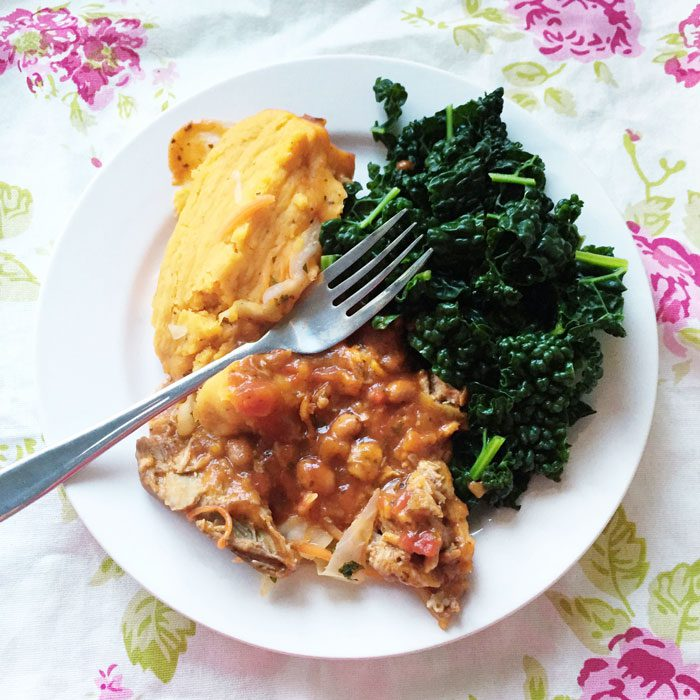 Pulled pork and sweet potato with kale