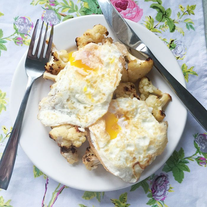 Roast cauliflower with fried egg