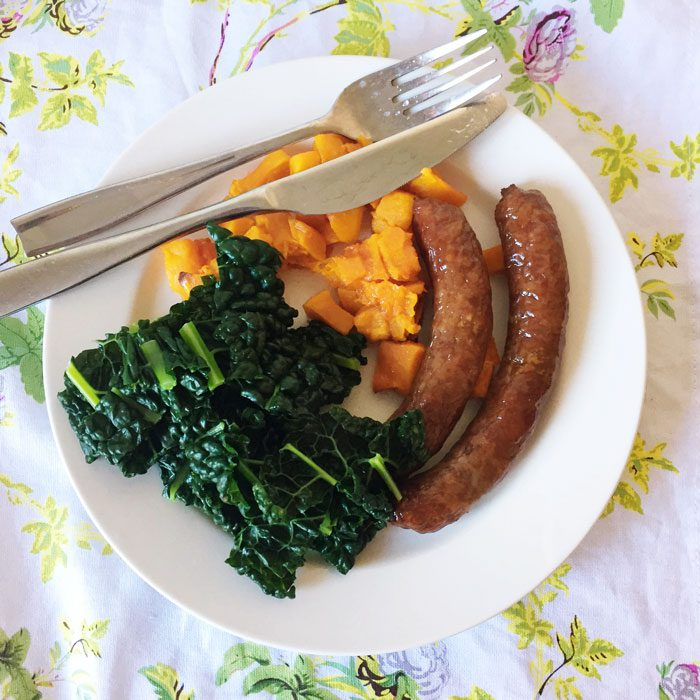 Sausages butternut kale