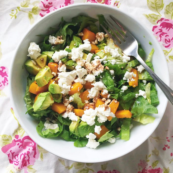 Squash feta and avocado salad