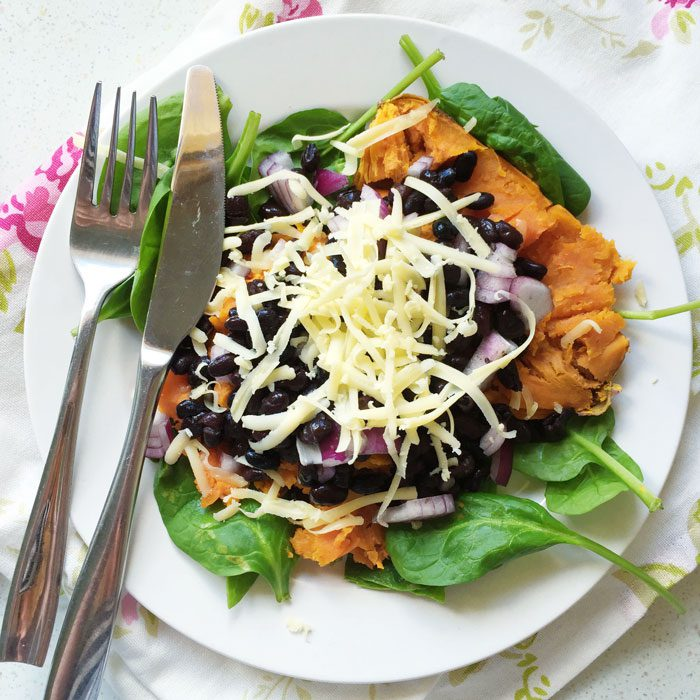 Sweet potato with black beans and cheese