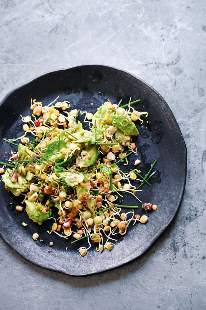 Avocado smash with toasted nuts and seeds
