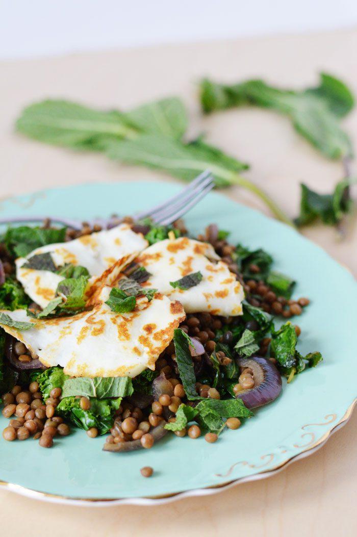 Halloumi + lentil salad 1