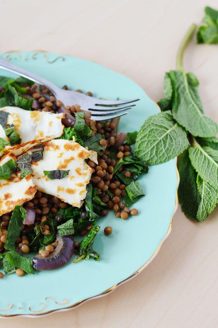 Halloumi + lentil salad 2