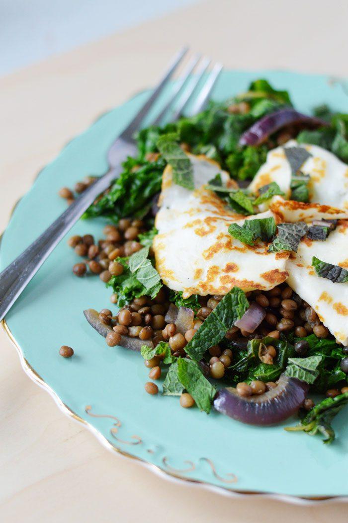 Halloumi + lentil salad 4