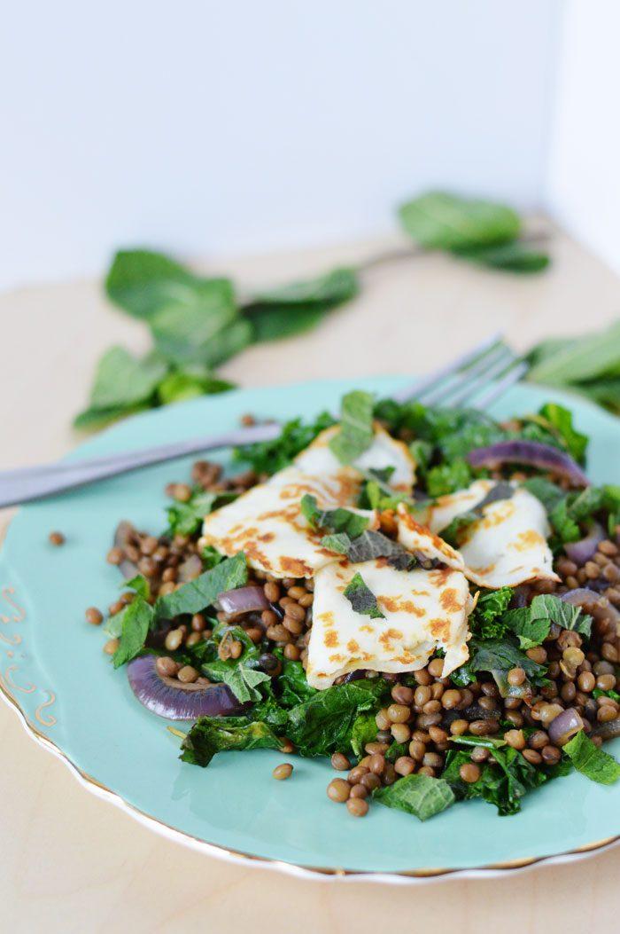Halloumi + lentil salad 5