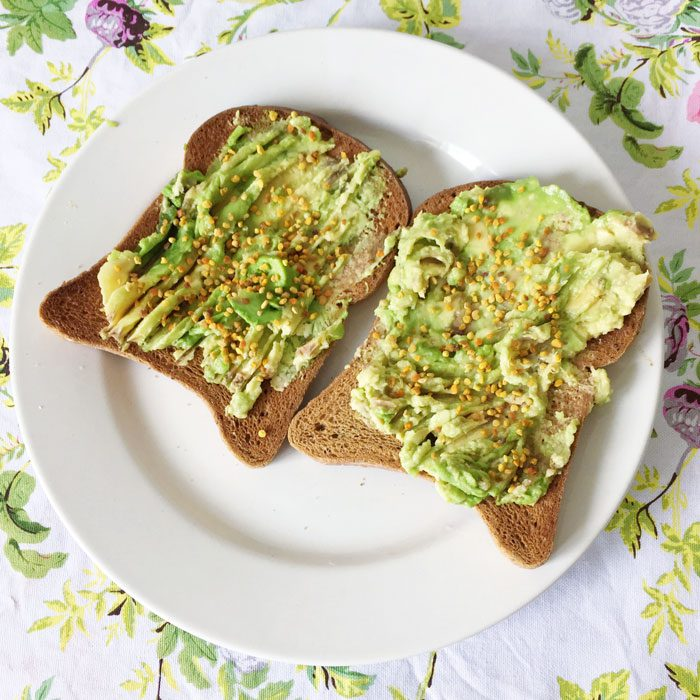 Toast with avocado and bee pollen
