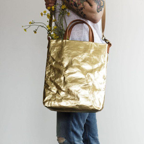 Uashmama metallic gold ladies handbag eco friendly 2 grande