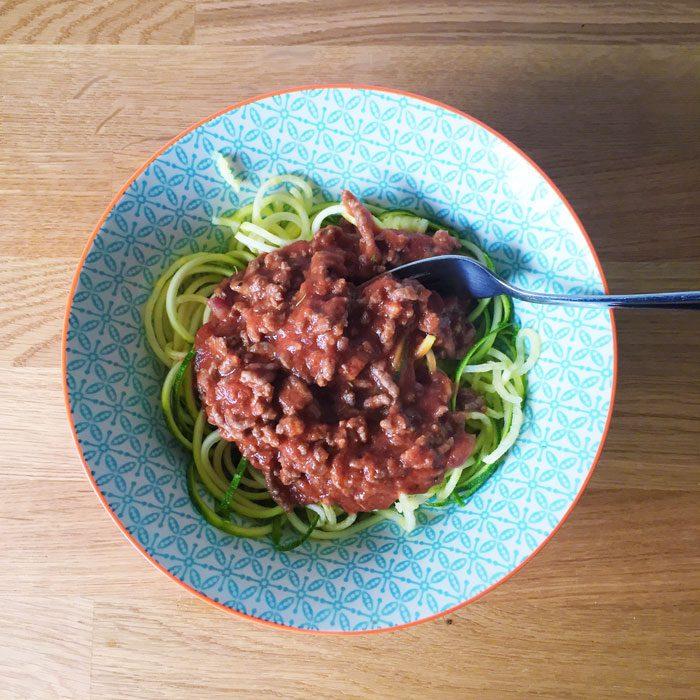 Beef ragu and courgetti