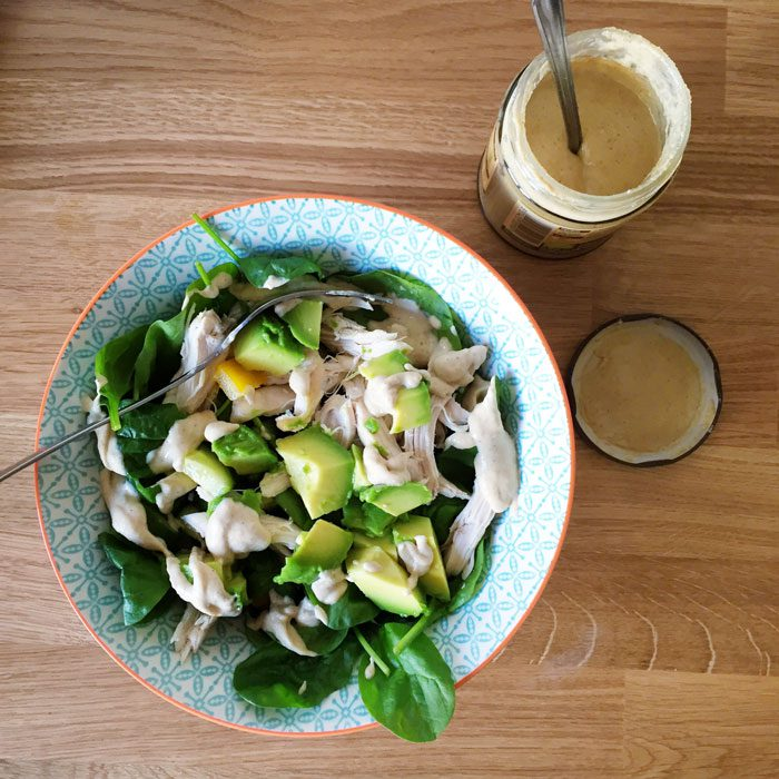 Chicken salad with tahini dressing