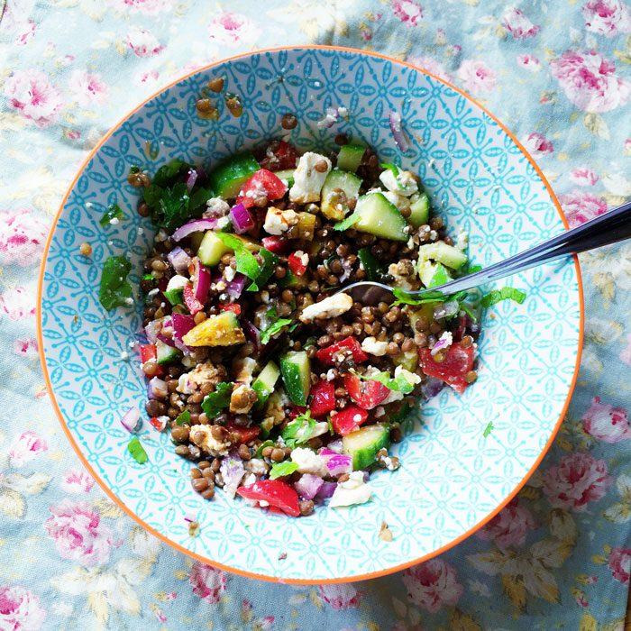 Feta lentil salad
