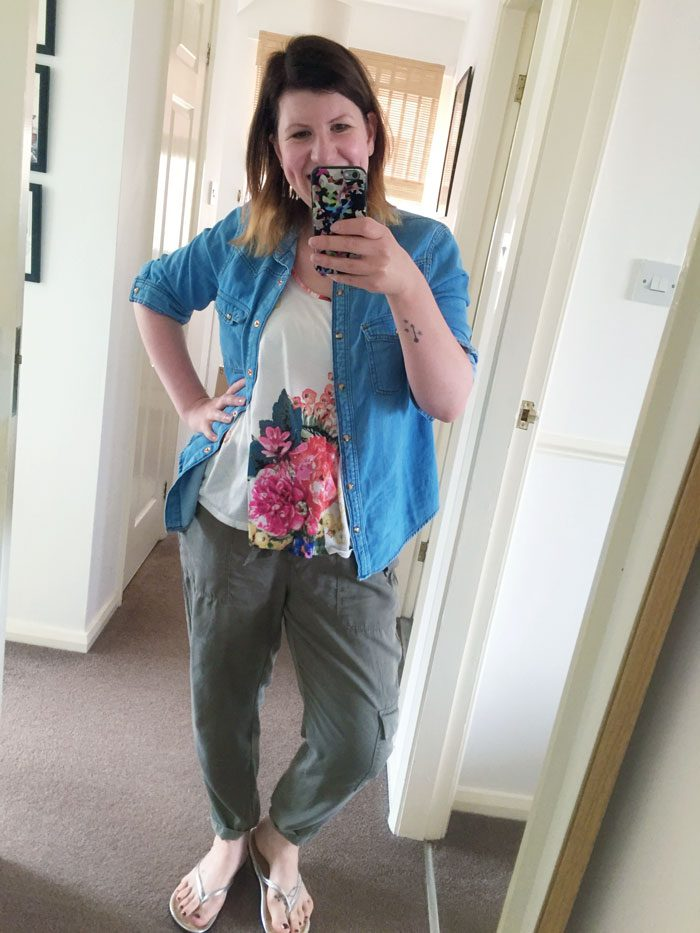 Floral and denim outfit