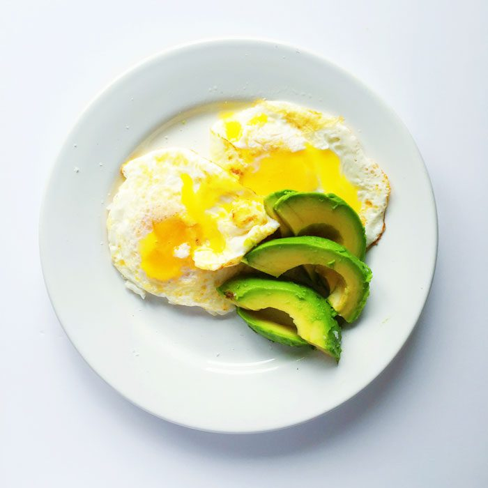 Fried eggs with avocado