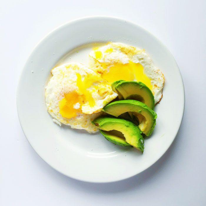 Fried eggs with avocado