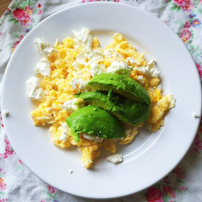 Scrambled eggs with feta and avocado