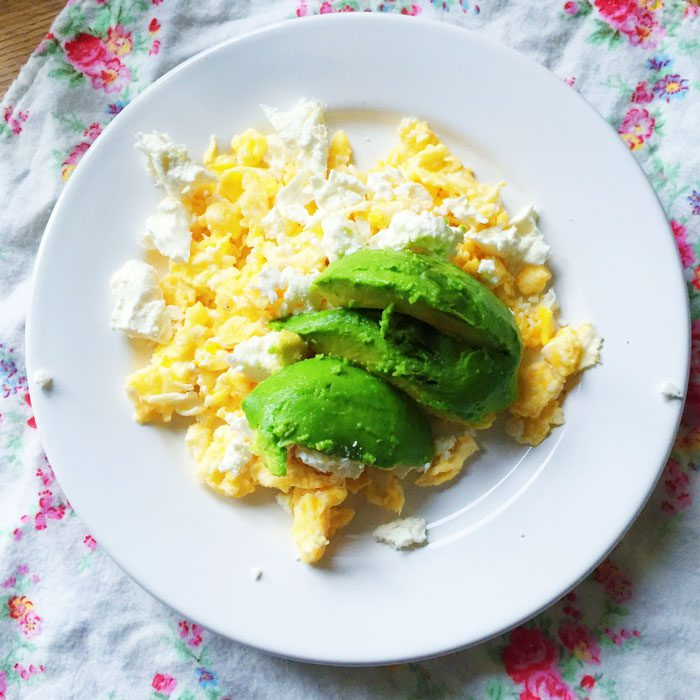 Scrambled eggs with feta and avocado