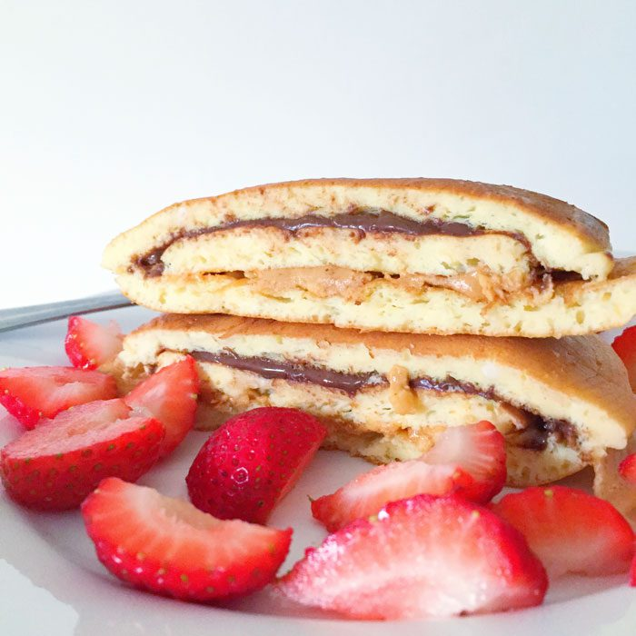 Protein pancakes with chocolate peanut butter