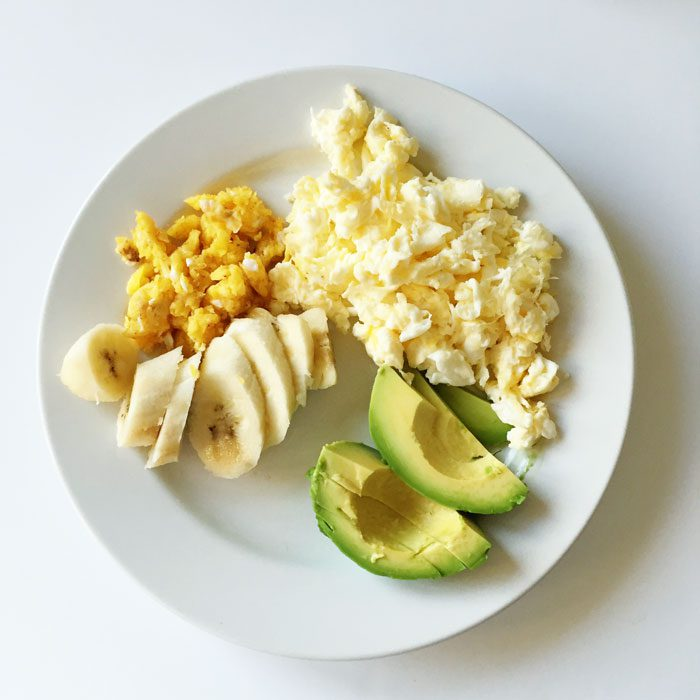 Mama and baba scrambled eggs plate