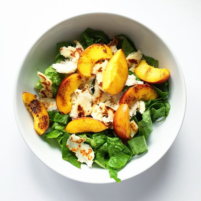 Peach and halloumi salad