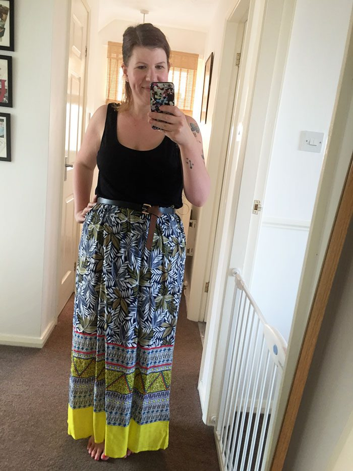 Primark maxi dress worn as skirt