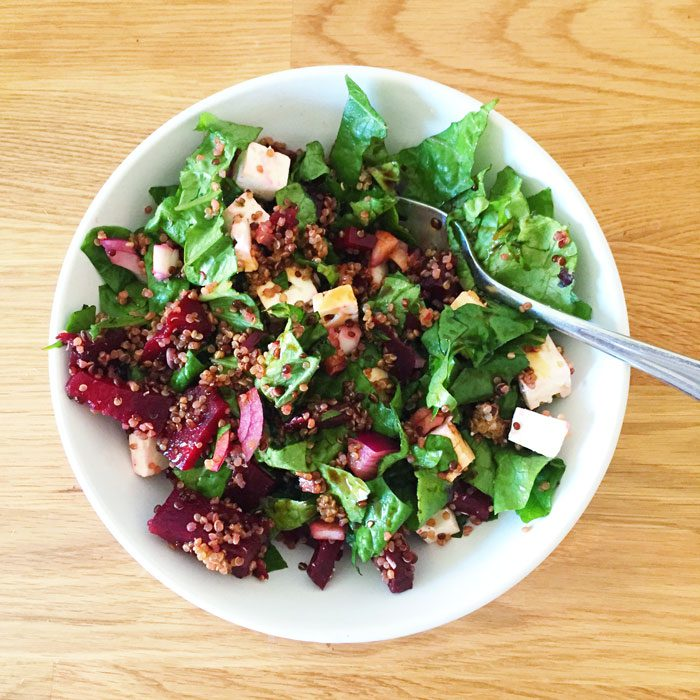 Quinoa beet and feta salad