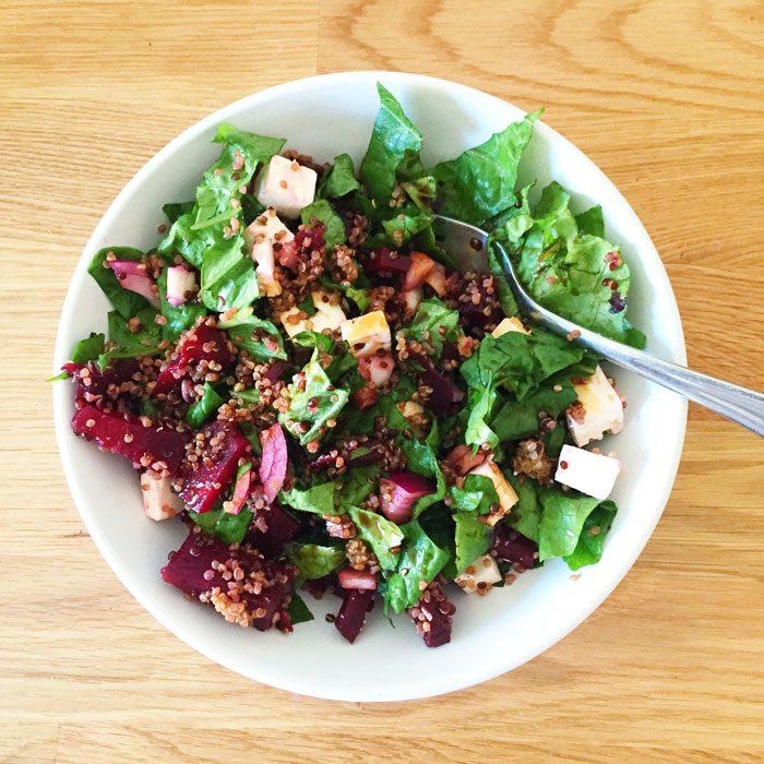 Quinoa beet and feta salad