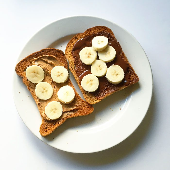 Toast with rawmio and peanut butter