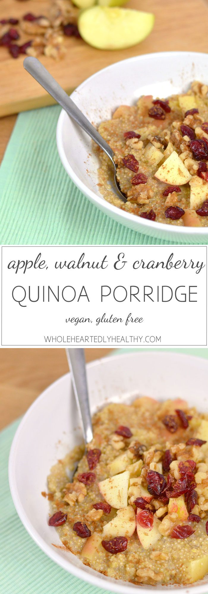 Apple walnut and cranberry quinoa porridge