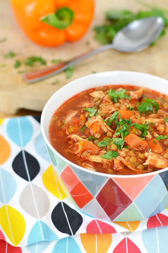 Harissa chicken and lentil soup 5