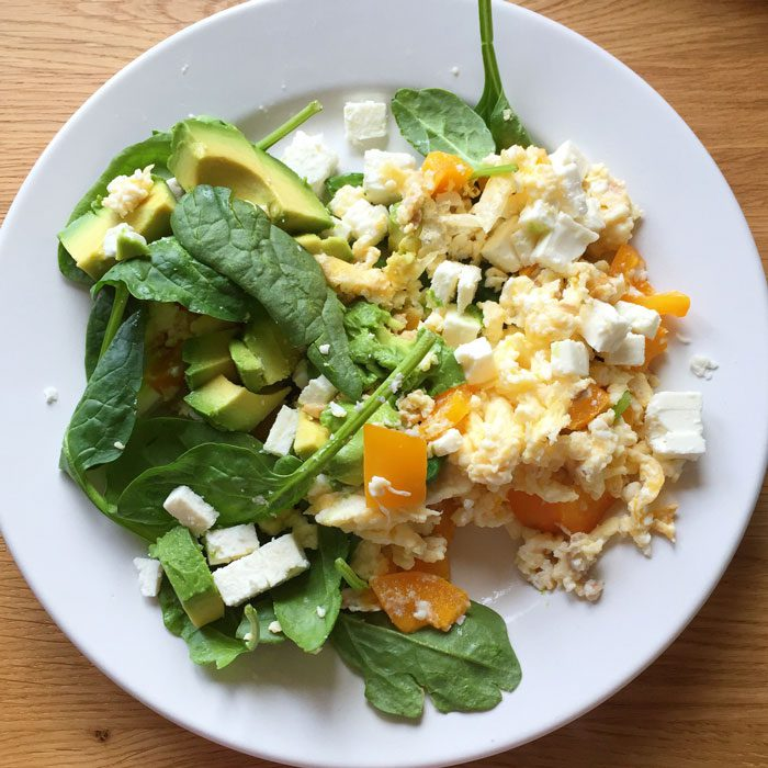 Scramble with feta and avocado