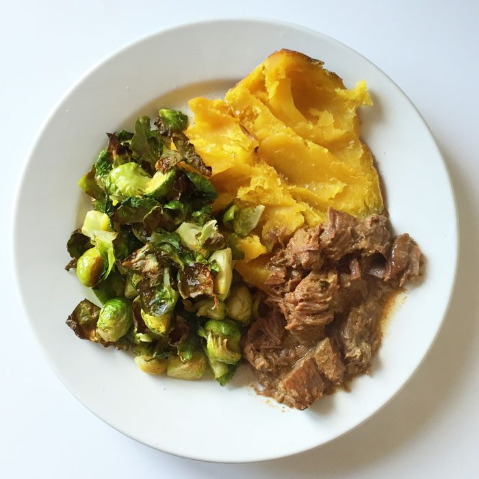 Slow cooked beef with sweet potato and brussel sprouts