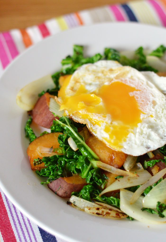 Sweet potato and cabbage hash recipe