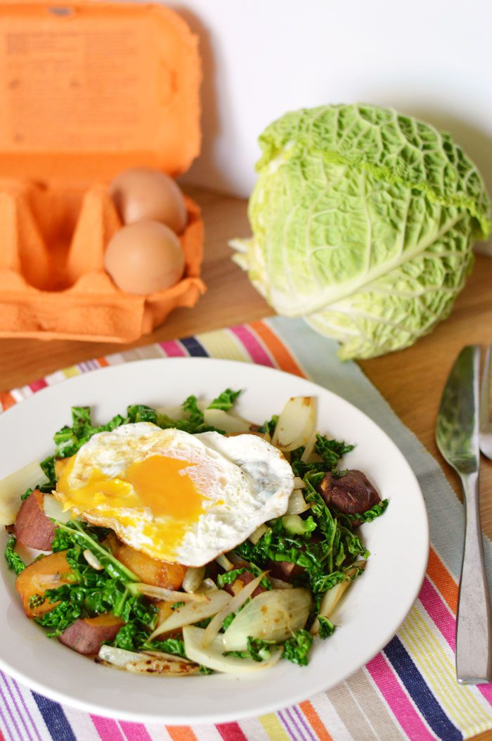 Sweet potato and cabbage hash 6