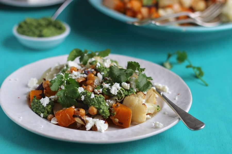 Squash, Cauliflower and Toasted Chickpea Salad with Coriander Pesto and Feta (Guest post from Ceri Jones Natural Kitchen Adventures)