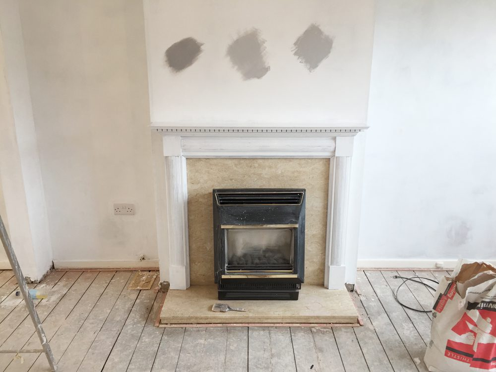 Fireplace with paint swatches