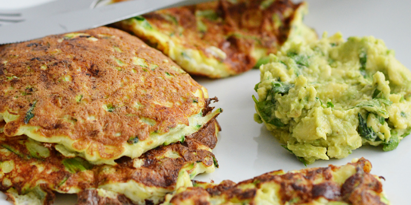 Courgette and Feta Fritters with Herbed Avocado Mash (low carb)