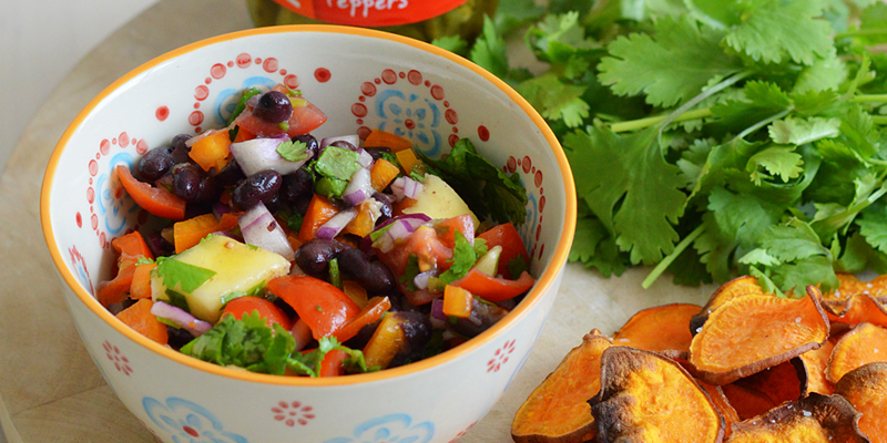 Mango and black bean salsa with sweet potato chips