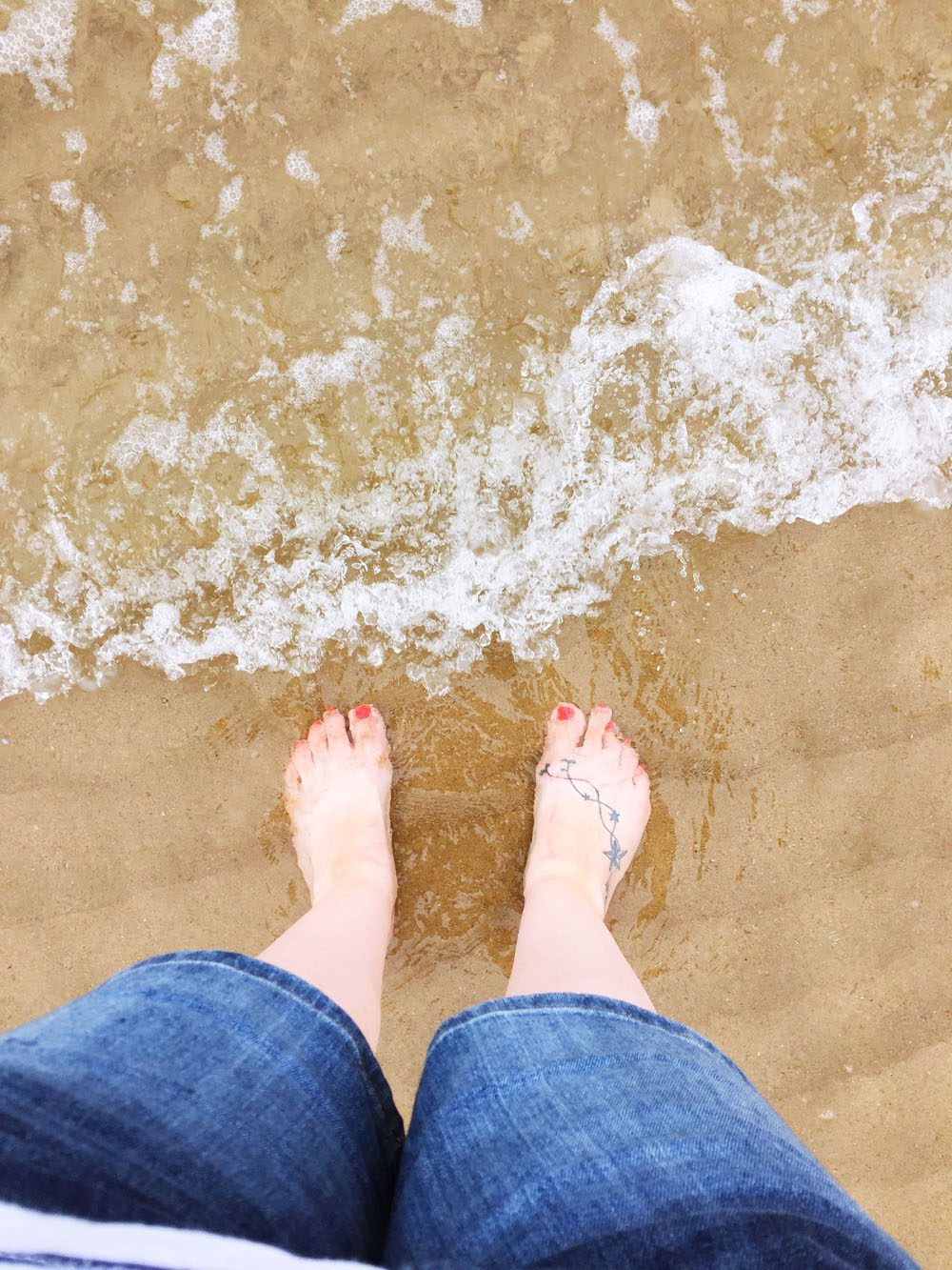 Feet in the sea