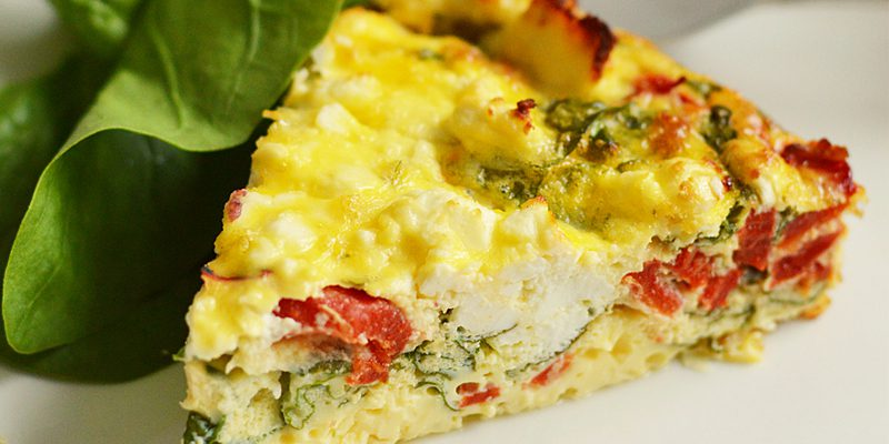 Roasted Red Pepper, Feta and Spinach Quiche with Quark