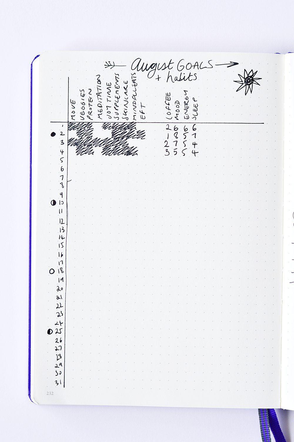 How to use a bullet journal for health and wellbeing: habit tracker