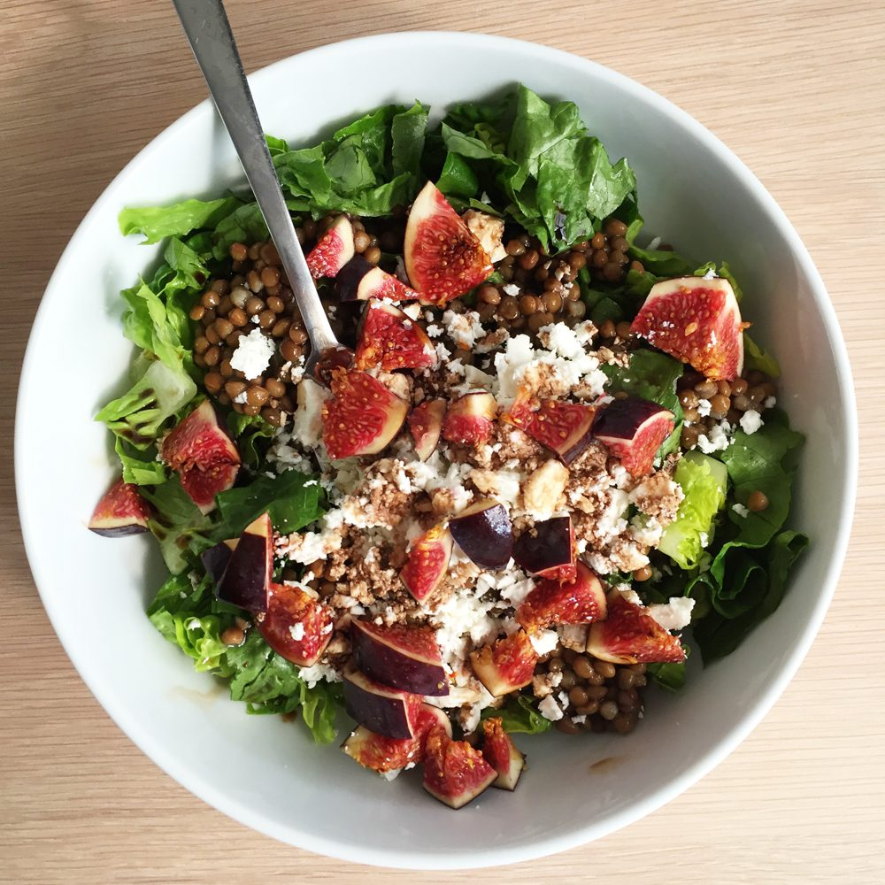 Fig lentil feta salad