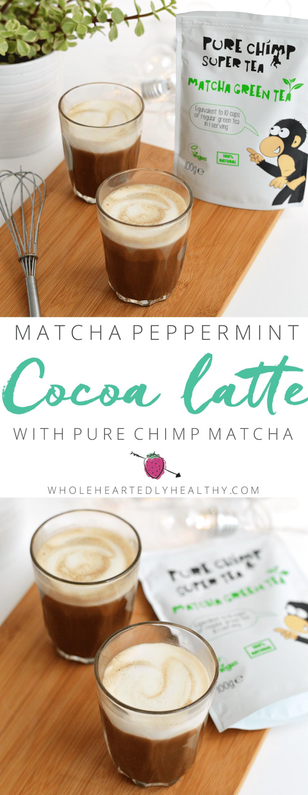 Matcha cocoa peppermint latte