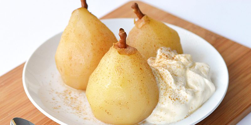 Chai Poached Pears with Creme Fraiche